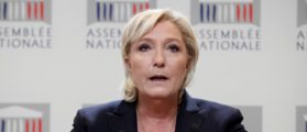 """Marine Le Pen, member of parliament and head of France's far-right National Front (FN) political party, attends a news conference on France's """"anti-terrorism"""" security bill at the National Assembly in Paris, France, October 3, 2017. REUTERS/Benoit Tessier"""