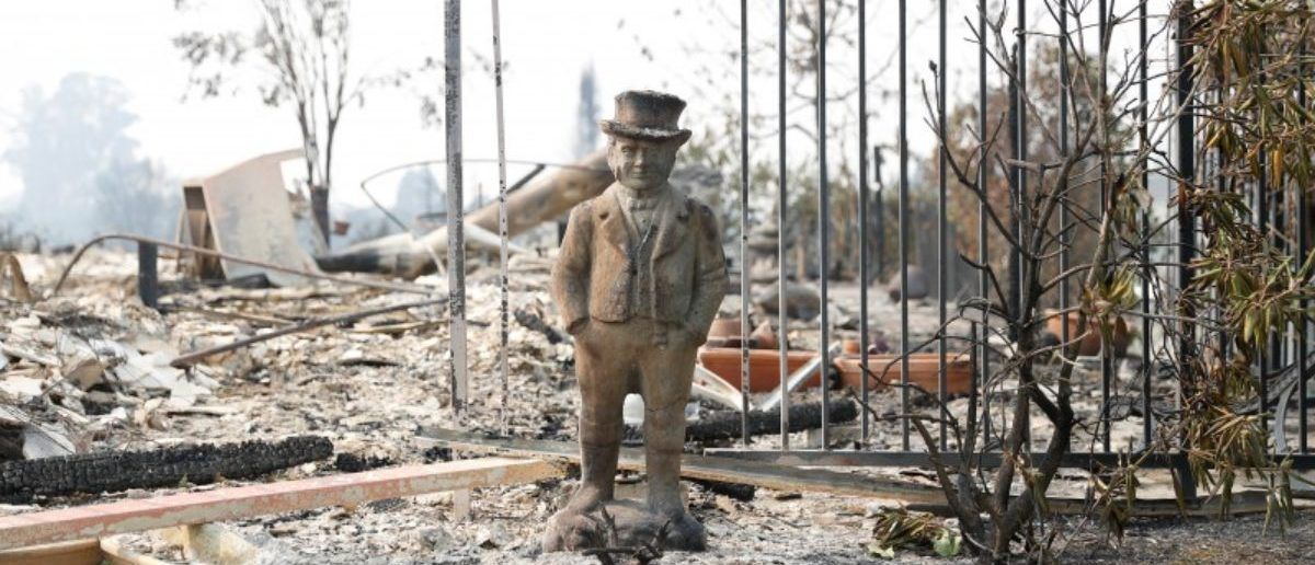 A statue stands amongst a home destroyed by the Tubbs Fire in Santa Rosa, California