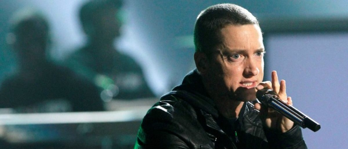 FILE PHOTO: Rapper Eminem performs 'Not Afraid' at the 2010 BET Awards in Los Angeles June 27, 2010.  REUTERS/Mario Anzuoni/