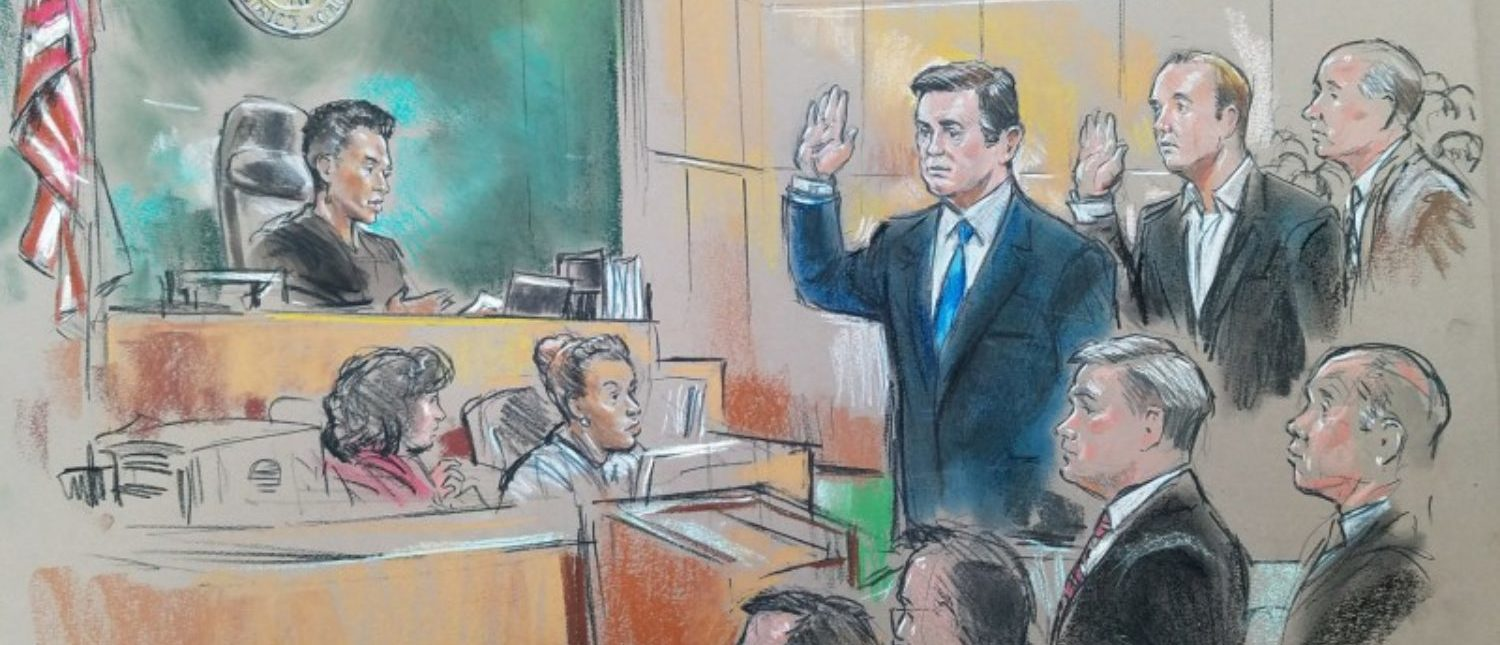 Former Trump 2016 campaign chairman Paul Manafort and former campaign official Rick Gates appear in front of U.S. Magistrate Deborah A. Robinson in U.S. Federal Court during a hearing in the first charges stemming from a special counsel investigation of possible Russian meddling in the 2016 presidential election in Washington, U.S., October 30, 2017. REUTERS/Bill Hennessey
