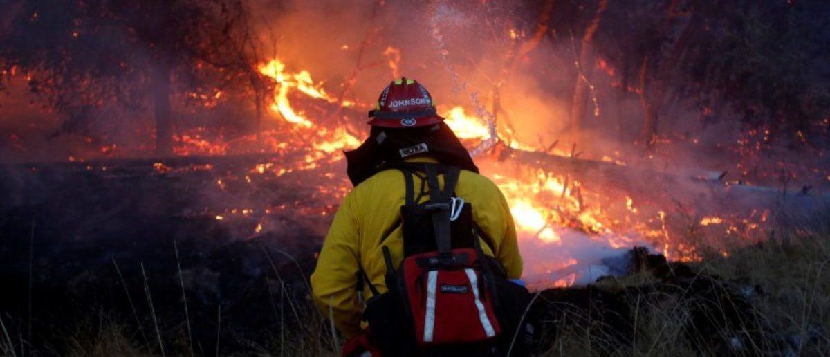 Firefighters battle a wildfire near Santa Rosa, California