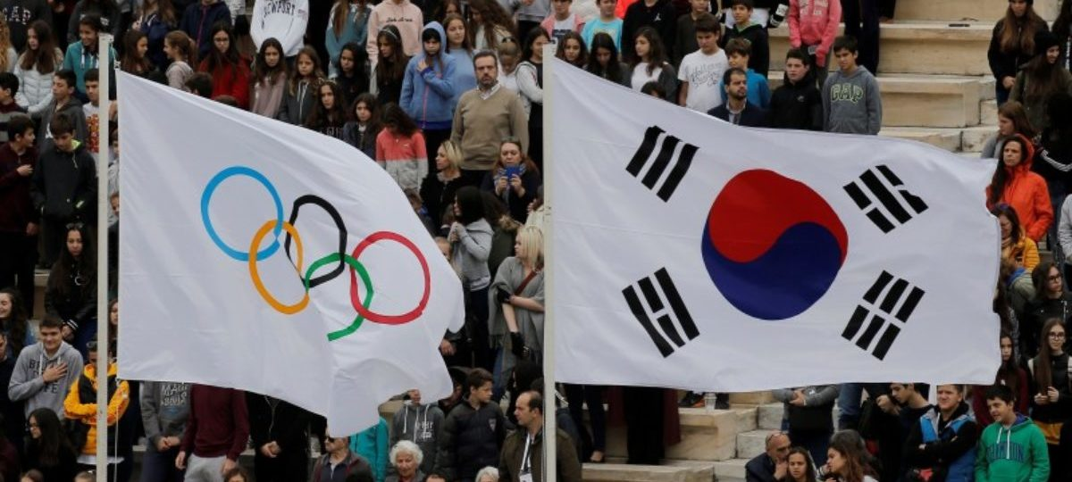 Athletics Olympic - Flame Handover Ceremony For Pyeongchang 2018 Olympics - Panathenaic Stadium, Athens, Greece - October 31, 2017 General view of the Olympic and South Korean flags during the ceremony REUTERS/Alkis Konstantinidis
