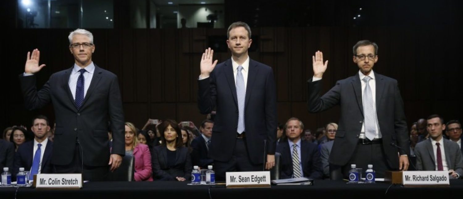 """(L-R) Colin Stretch, general counsel for Facebook; Sean Edgett, acting general counsel for Twitter; and Richard Salgado, director of law enforcement and information security at Google, are sworn in prior to testifying before Senate Judiciary Crime and Terrorism Subcommittee hearing on on """"ways to combat and reduce the amount of Russian propaganda and extremist content online,"""" on Capitol Hill in Washington, U.S., October 31, 2017. REUTERS/Jonathan Ernst"""