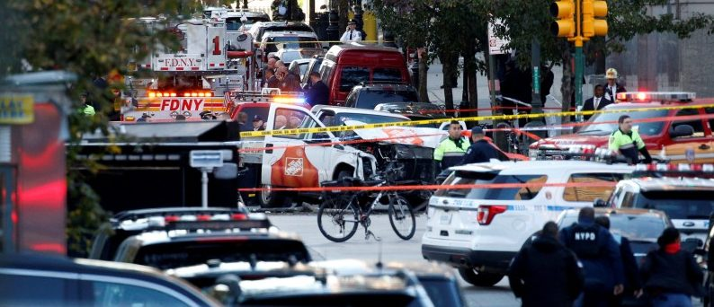 REFILE - ADDING INFORMATION   A Home Depot truck which struck down multiple people on a bike path, killing several and injuring numerous others, is seen as New York city first responders are at the crime scene in lower Manhattan in New York, NY, U.S., October 31, 2017.  REUTERS/Brendan McDermid