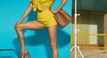 Gisele Bündchen owns summer in this yellow shorts outfit from a fashion photo shoot. (photo: Instagram)