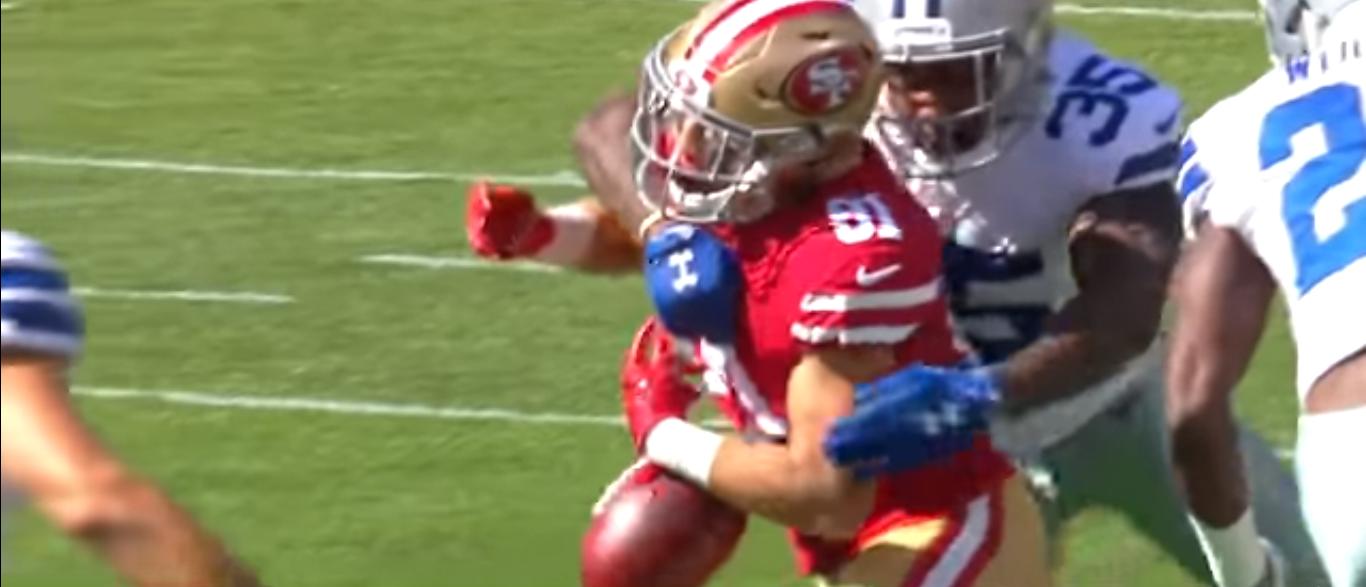 49ers RB Fumbles Against Cowboys 10-22-17 (YouTube Screenshot-NFL)