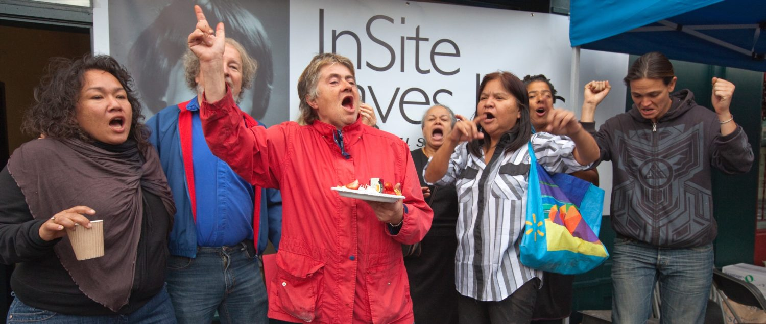 InSite workers and supporters celebrate the Supreme Court of Canada decision on the future of the supervised drug injection clinic in Vancouver, British Columbia September 30, 2011. In a unanimous decision, the court ruled that not allowing the clinic to operate under an exemption from drug laws would be a violation of the Charter of Rights and Freedoms. REUTERS/Andy Clark