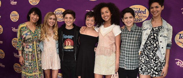 "BEVERLY HILLS, CA - MARCH 04:  Actors Lauren Tom, Emily Skinner, Asher Angel, Peyton Elizabeth Lee, Sofia Wylie, Joshua Rush and Lilan Bowden attend a screening of Disney Channel's ""Tangled Before Ever After"" at The Paley Center for Media on March 4, 2017 in Beverly Hills, California.  (Photo by Alberto E. Rodriguez/Getty Images)"