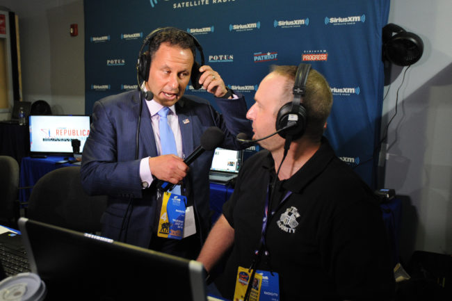 Brian Kilmeade, co-anchor for Fox News Channel, interviews Andrew Wilkow during an episode of his show The Wilkow Majority on SiriusXM Patriot at Quicken Loans Arena on July 21, 2016 in Cleveland, Ohio. (Photo by Ben Jackson/Getty Images for SiriusXM)