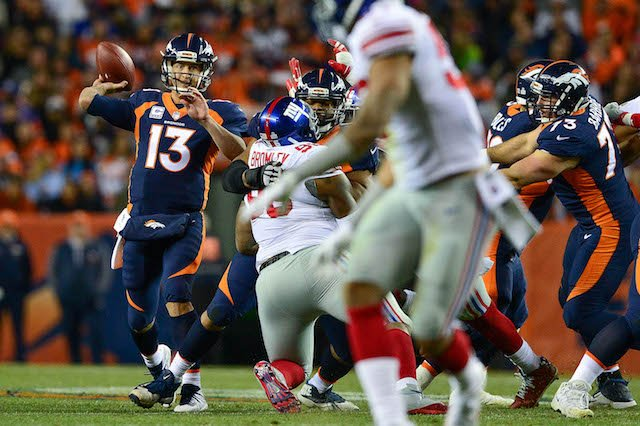 DENVER, CO - OCTOBER 15: Quarterback Trevor Siemian #13 of the Denver Broncos passes against the New York Giants during a game at Sports Authority Field at Mile High on October 15, 2017 in Denver, Colorado. (Photo by Dustin Bradford/Getty Images)