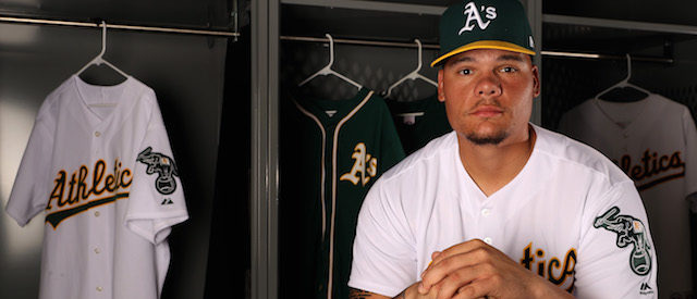 MESA, AZ - FEBRUARY 22: Bruce Maxwell #13 of the Oakland Athletics poses for a portrait during photo day at HoHoKam Stadium on February 22, 2017 in Mesa, Arizona. (Photo by Christian Petersen/Getty Images)