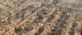 An aerial photo of the devastation left behind from the North Bay wildfires north of San Francisco, California, October 9, 2017. California Highway Patrol/Golden Gate Division/Handout via REUTERS