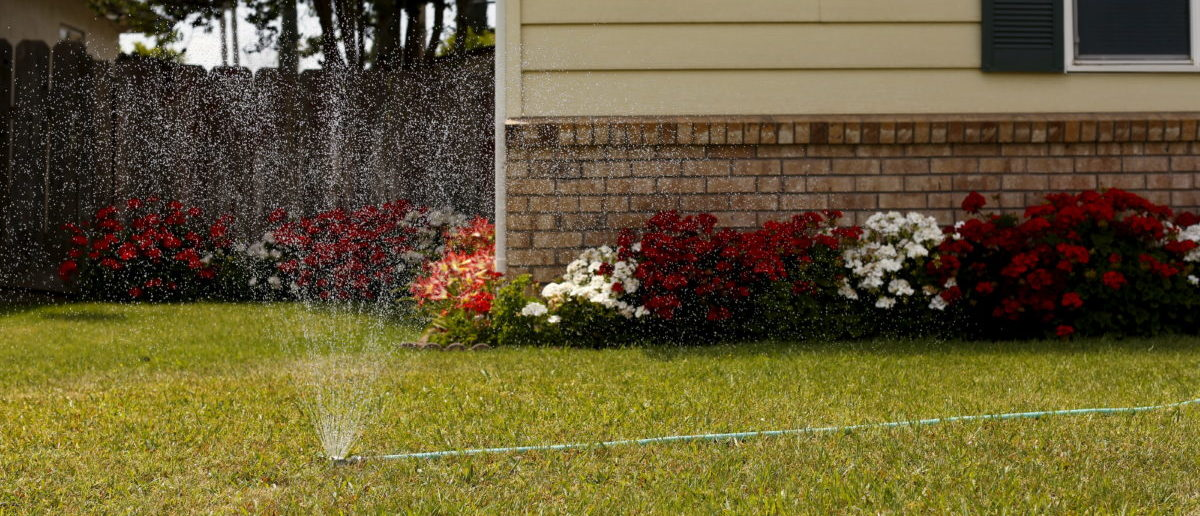 A lawn is watered in Livingston, California April 21, 2015. California water regulators have adopted the state's first rules for mandatory cutbacks in urban water use as the region's catastrophic drought enters its fourth year. Urban users will be hardest hit, even though they account for only 20 percent of state water consumption, while the state's massive agricultural sector, which the Public Policy Institute of California says uses 80 percent of human-related consumption, has been exempted. Picture taken April 21, 2015. REUTERS/Robert Galbraith