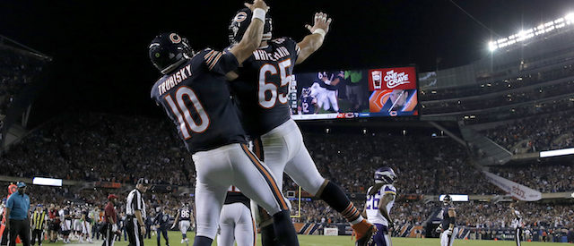 CHICAGO, IL - OCTOBER 09: Mitchell Trubisky #10 and Cody Whitehair #65 of the Chicago Bears celebrate after scoring against the Minnesota Vikings in the fourth quarter at Soldier Field on October 9, 2017 in Chicago, Illinois. The Minnesota Vikings defeated the Chicago Bears 20-17. (Photo by Jon Durr/Getty Images)