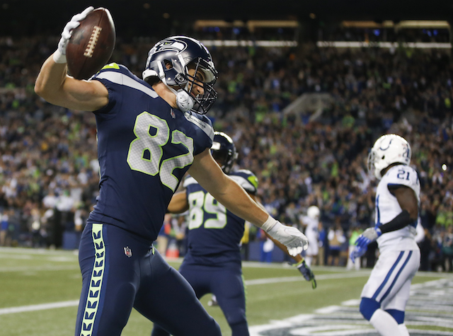 SEATTLE, WA - OCTOBER 1: Tight end Luke Willson #82 of the Seattle Seahawks spikes the ball as he celebrates his touchdown against the Indianapolis Colts in the fourth quarter of the game at CenturyLink Field on October 1, 2017 in Seattle, Washington. (Photo by Otto Greule Jr /Getty Images)