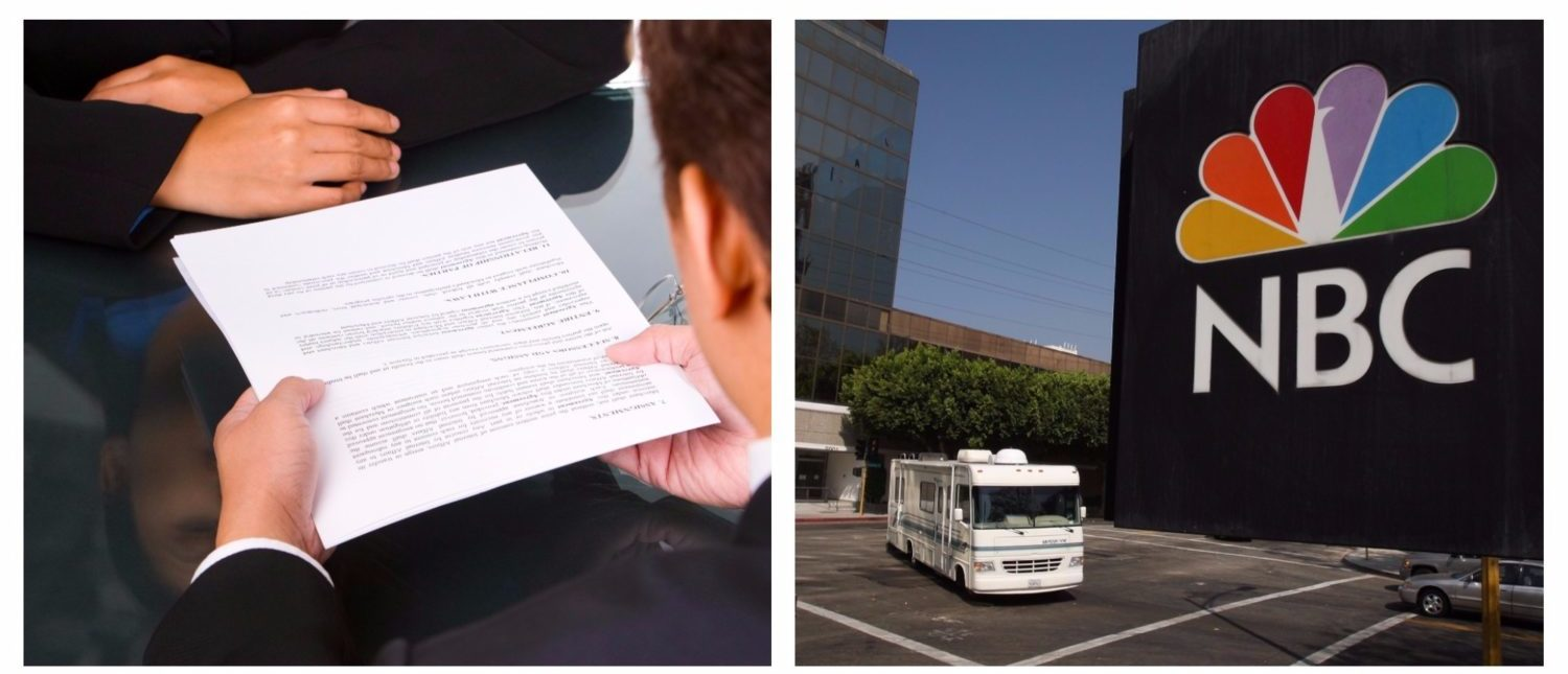 Left: Handing over papers during a license agreement. (Shutterstock - otnaydur) Right: The NBC peacock logo hangs on the NBC studios building as a mobile home is parked nearby on October 20, 2008 in Burbank, California. (Photo by David McNew/Getty Images)
