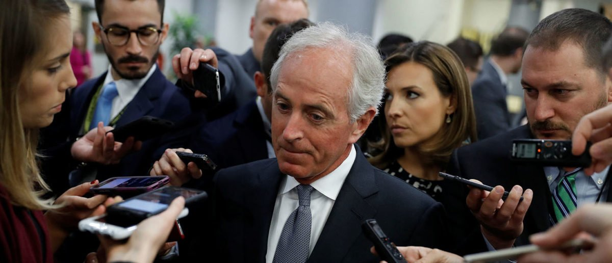Sen. Bob Corker (R-TN) speaks with reporters on Capitol Hill in Washington, U.S., October 25, 2017. REUTERS/Aaron P. Bernstein