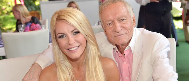 Crystal Harris (L) and Hugh Hefner attend Playboy's 2013 Playmate Of The Year luncheon honoring Raquel Pomplun for Playboy's 2013 Playmate Of The Year . (Photo by Charley Gallay/Getty Images for Playboy)