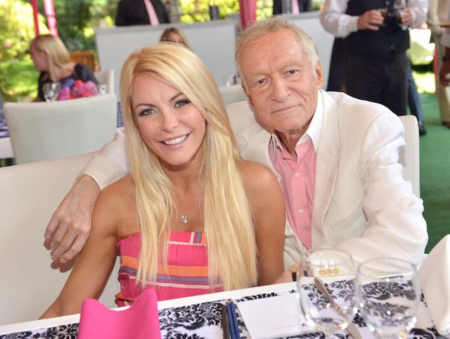 Crystal Harris (L) and Hugh Hefner attend Playboy's 2013 Playmate Of The Year luncheon honoring Raquel Pomplun for Playboy's 2013 Playmate Of The Year