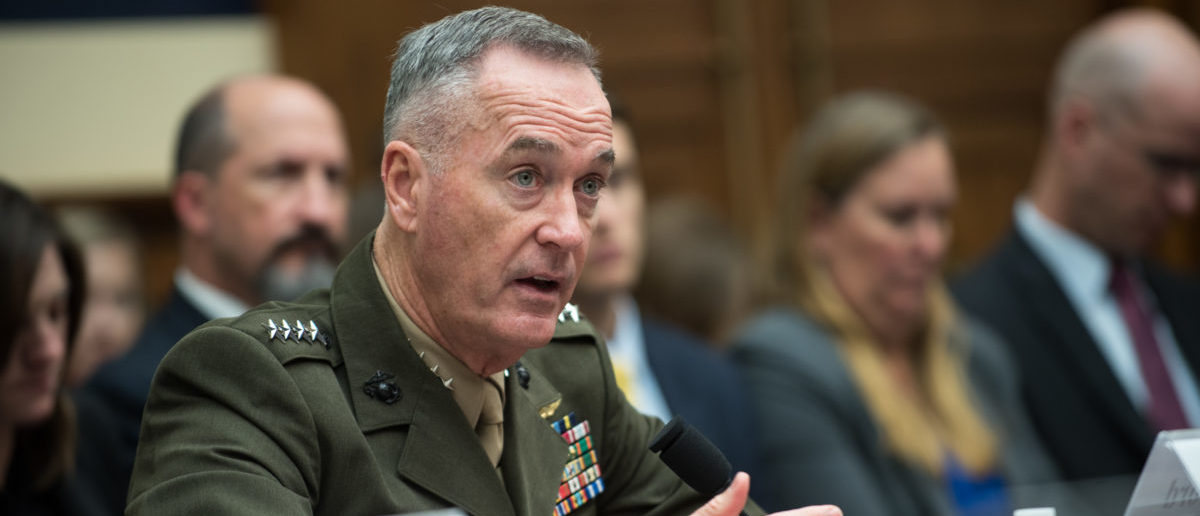 U.S. Marine Corps Gen. Joseph F. Dunford, Jr., chairman of the Joint Chiefs of Staff, testifies during a House Armed Services Committee hearing on Capitol Hill, Oct. 3, 2017. Gen. Dunford testified alongside Secretary of Defense Jim Mattis about the U.S. Defense strategy in South Asia. (DoD Photo by U.S. Army Sgt. James K. McCann)