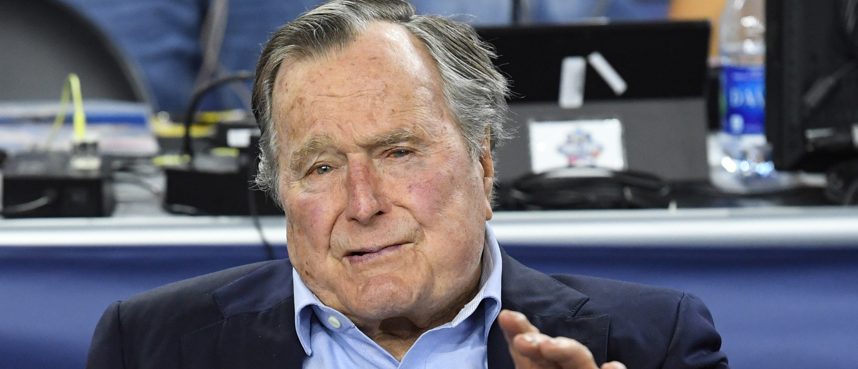Apr 2, 2016; Houston, TX, USA;  United States former President George H.W. Bush in attendance before the 2016 NCAA Men's Division I Championship semi-final game between the Oklahoma Sooners and Villanova Wildcats at NRG Stadium. Mandatory Credit: Robert Deutsch-USA TODAY Sports - 9224461