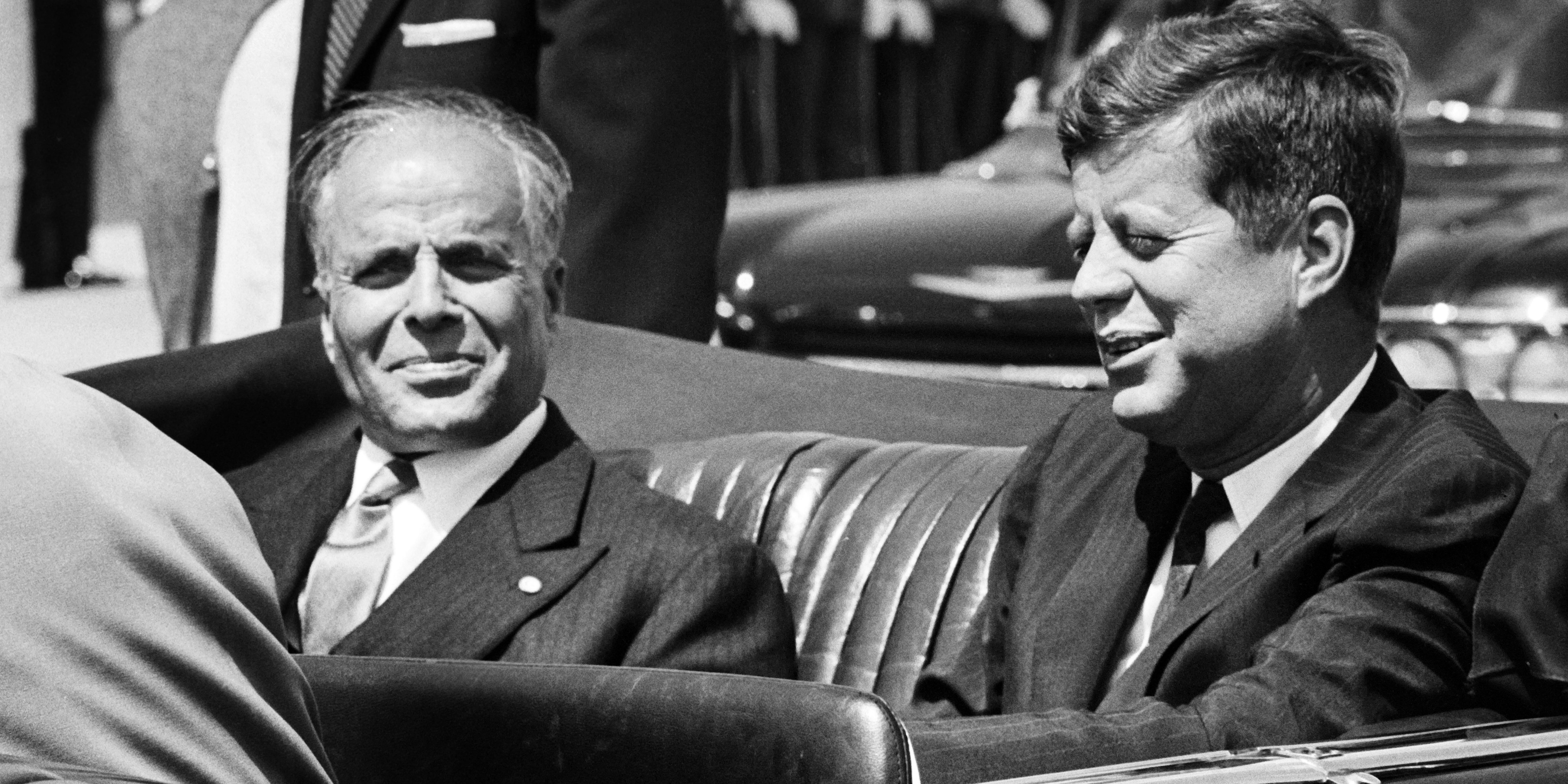 A photo taken on May 4, 1961 in Washington shows US president John Fitzgerald Kennedy (R) and his Tunisian counterpart Habib Bourguiba during his first visit in United States. AFP PHOTO (Photo credit should read ARCHIVE/AFP/GettyImages)