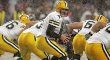 Green Bay Packers quarterback Brett Favre gets ready to make a pass during a game. (Photo by Kevin Casey/NFLPhotoLibrary)