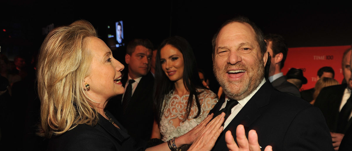NEW YORK, NY - APRIL 24: Secretary of State Hillary Rodham Clinton and producer Harvey Weinstein attend the TIME 100 Gala, TIME'S 100 Most Influential People In The World, cocktail party at Jazz at Lincoln Center on April 24, 2012 in New York City. (Larry Busacca/Getty Images for TIME)