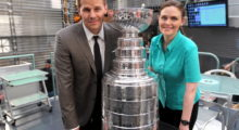 "David Boreanaz and Emily Deschanel take a photo with National Hockey League Stanley Cup on the set of 'Bones"" at the Twentieth Century Fox Studio Lot in May 2012 in Los Angeles. (Photo by Mark Davis/Getty Images)"
