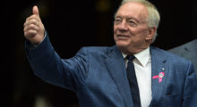Jerry Jones, owner of the Dallas Cowboys gives the 'thumbs up' to some Cowboys fans before the game against the Seattle Seahawks in October 2014 in Seattle, Washington.  (Photo by Steve Dykes/Getty Images)