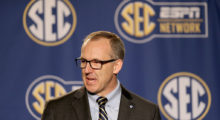 Greg Sankey the new commissioner of the SEC talks to the media before the quaterfinals of the SEC Basketball Tournament in March 2015 in Nashville.  (Photo by Andy Lyons/Getty Images)