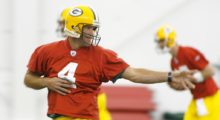 Brett practicing with teammates during the first mini camp at the Don Hutson Center in May 2006 in Green Bay, Wisconsin. (Photo by Darren Hauck/Getty Images)