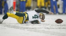 Brett tries to recover a fumble during the Packers' game against the Seattle Seahawks in November 2006 in Seattle, Washington.  (Photo by Otto Greule Jr/Getty Images)