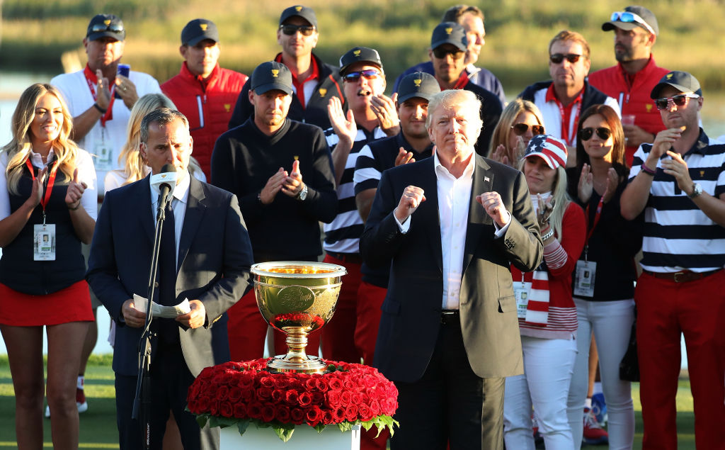 Trump dedicates golf trophy to hurricane-ravaged areas
