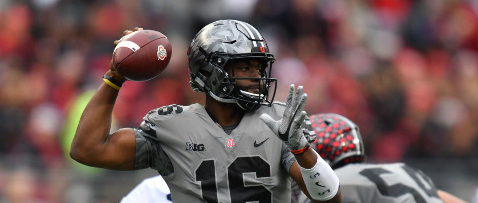 J.T. Barrett of the Ohio State Buckeyes passes in the first quarter against the Penn State Nittany Lions on October 28, 2017 in Columbus, Ohio.  (Photo by Jamie Sabau/Getty Images)