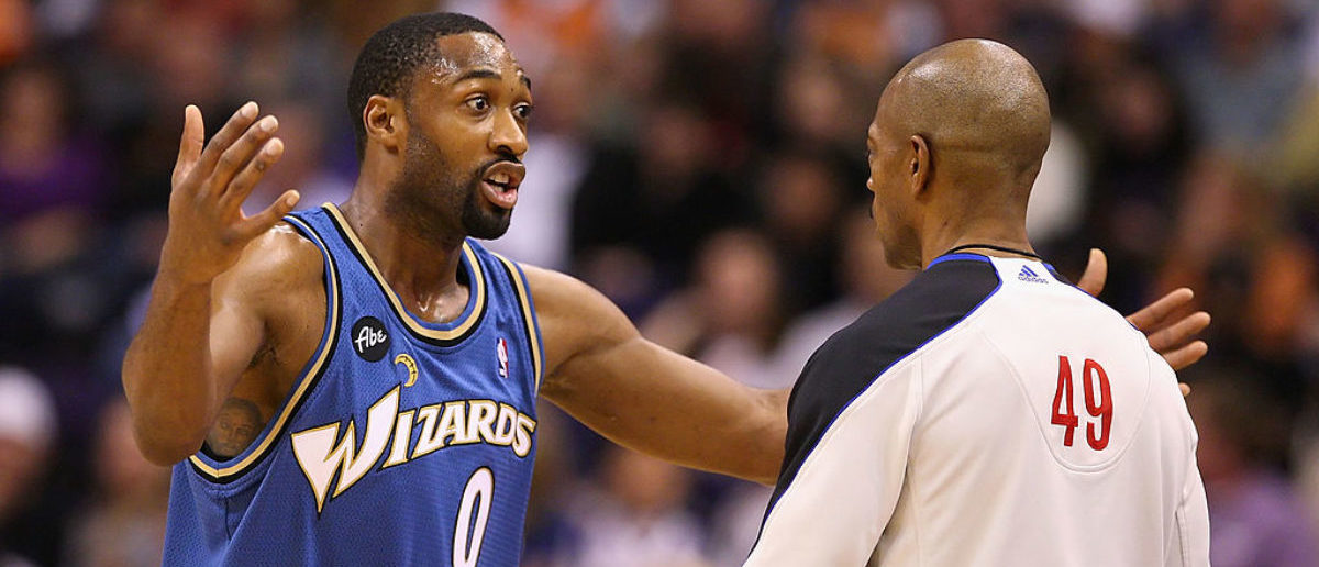 PHOENIX - DECEMBER 19:  Gilbert Arenas #0 of the Washington Wizards reacts to a call from referee Tom Washington during the NBA game against the Phoenix Suns at US Airways Center on December 19, 2009 in Phoenix, Arizona. (Photo by Christian Petersen/Getty Images)