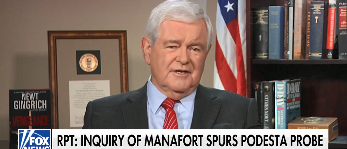 """Former Speaker Newt Gingrich called Hillary Clinton's Russia connections """"stunning"""" and said the flow of foreign money into American politics must be stopped. (Screenshot-Fox News)"""