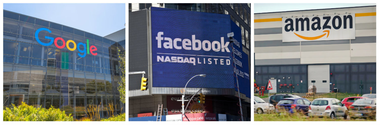 Left: Google logo [Shutterstock - Benny Marty] Middle: Facebook logo Shutterstock - lev radin] Right: Amazon logo [Shutterstock - MikeDotta]