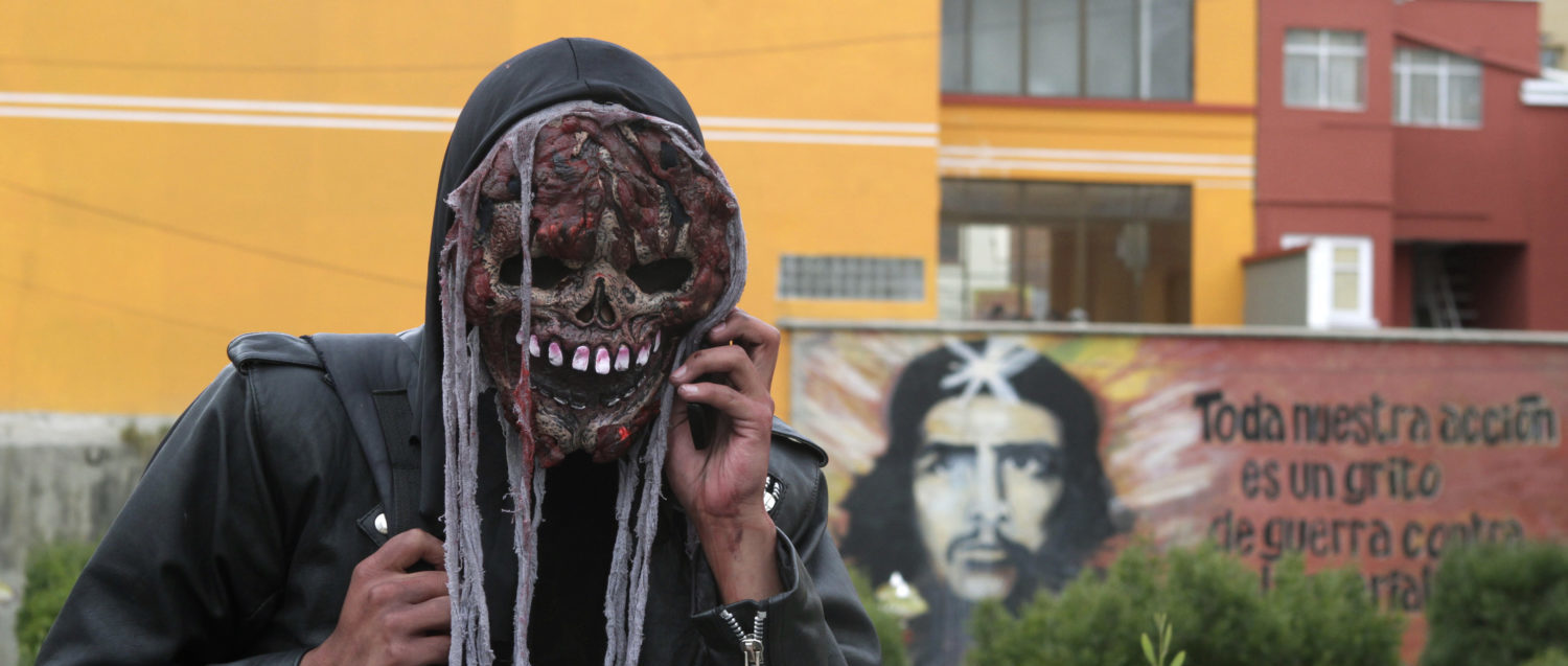 "A man wearing a costume talks on a mobile phone in front of a picture of Argentine guerrilla leader Ernesto ""Che"" Guevara during an annual Halloween celebration in La Paz October 31, 2010. REUTERS/David Mercado  (BOLIVIA - Tags: SOCIETY) - GM1E6B10WVT01"