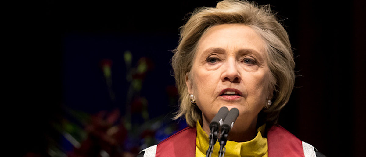 SWANSEA, WALES - OCTOBER 14: Hillary Clinton gives a speech as she is presented with a Honorary Doctorate of Law at Swansea University on October 14, 2017 in Swansea, Wales. The former US secretary of state and 2016 American presidential candidate is also visiting the UK to promote her new book, 'What Happened'. (Photo by Matthew Horwood/Getty Images)