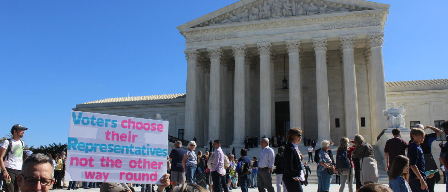 An activist protests partisan gerrymandering outside the Supreme Court in Oct. 2017. (Kevin Daley/TheDCNF)