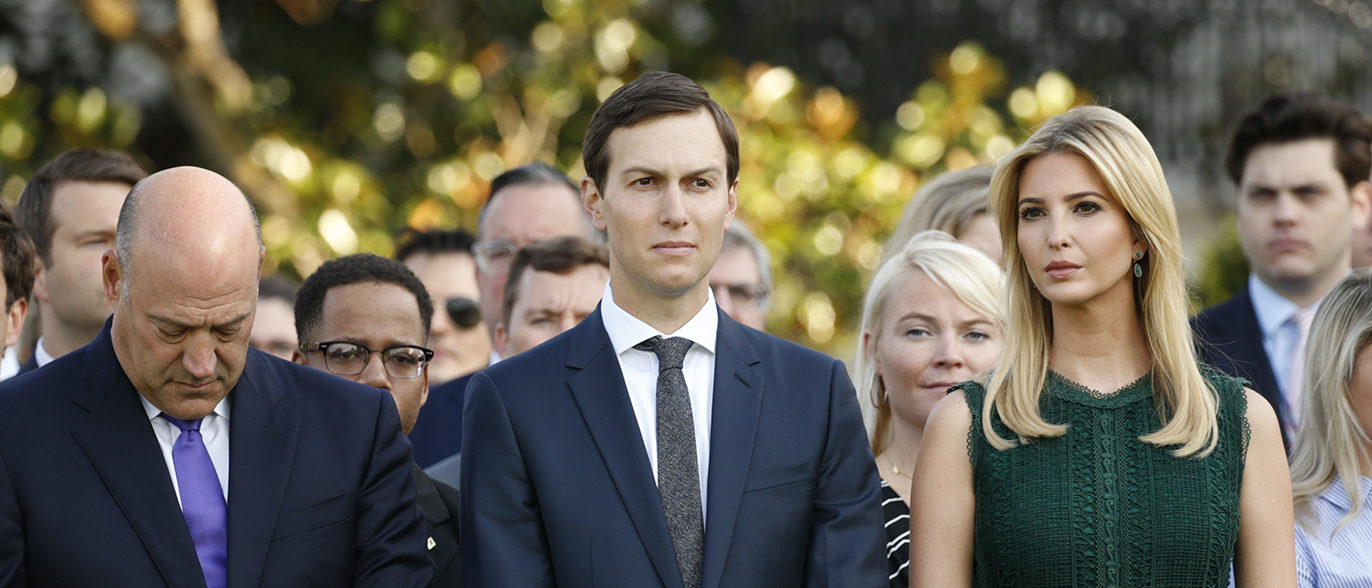 White House senior adviser Ivanka Trump, husband and fellow senior adviser Jared Kushner (C), and White House Chief Economic Adviser Gary Cohn attend a remembrance of the September 11 attacks on the United States, at the White House in Washington, U.S., September 11, 2017. REUTERS/Kevin Lamarque