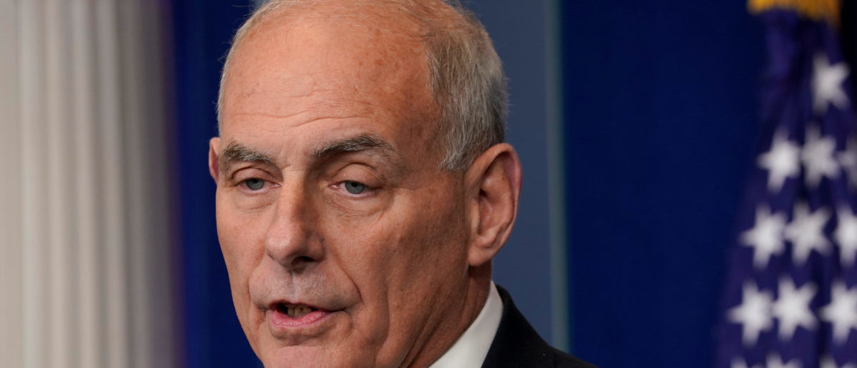 White House Chief of Staff John Kelly speaks during a daily briefing at the White House in Washington, U.S., October 19, 2017. REUTERS/Yuri Gripas