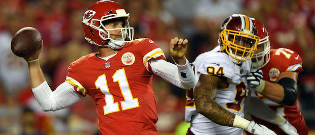 KANSAS CITY, MO - OCTOBER 02: Quarterback Alex Smith #11 of the Kansas City Chiefs passes during the game against the Washington Redskins at Arrowhead Stadium on October 2, 2017 in Kansas City, Missouri. (Photo by Peter Aiken/Getty Images)