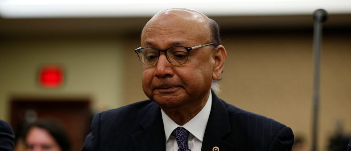 Gold-Star father Khizr Khan, father of U.S. Army Captain Humayun Khan who was killed in 2004 in Iraq, puts his hand to his heart as he takes part in a discussion panel on the Muslim and refugee ban in the U.S. Capitol in Washington February 2, 2017. [REUTERS/Kevin Lamarque]