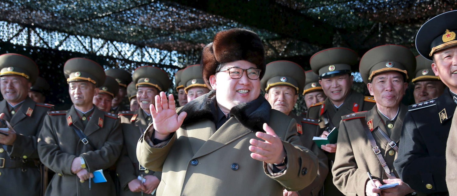 North Korean leader Kim Jong Un smiles while watching the Korean People's Army (KPA) tank crews' competition at an unknown location, in this undated photo released by North Korea's Korean Central News Agency (KCNA) in Pyongyang on March 11, 2016. TPX IMAGES OF THE DAY REUTERS/KCNA ATTENTION EDITORS - THIS PICTURE WAS PROVIDED BY A THIRD PARTY. REUTERS IS UNABLE TO INDEPENDENTLY VERIFY THE AUTHENTICITY, CONTENT, LOCATION OR DATE OF THIS IMAGE. FOR EDITORIAL USE ONLY. NOT FOR SALE FOR MARKETING OR ADVERTISING CAMPAIGNS. NO THIRD PARTY SALES. NOT FOR USE BY REUTERS THIRD PARTY DISTRIBUTORS. SOUTH KOREA OUT. NO COMMERCIAL OR EDITORIAL SALES IN SOUTH KOREA. THIS PICTURE IS DISTRIBUTED EXACTLY AS RECEIVED BY REUTERS, AS A SERVICE TO CLIENTS. - GF10000341444