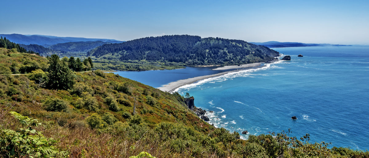 Looking south from the Klamath River Overlook, you see the Pacific Ocean, Klamath River Inlet, & Lagoon Beach protected by a long sandbar. In the background you see a large stand of redwood trees. (Shutterstock/Randy Andy)