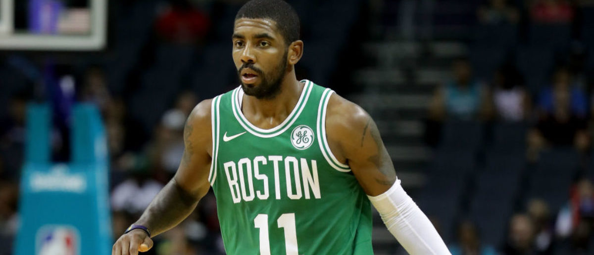 Kyrie Irving of the Boston Celtics against the Charlotte Hornets during their game at Spectrum Center on October 11, 2017 in Charlotte, North Carolina. (Photo by Streeter Lecka/Getty Images)