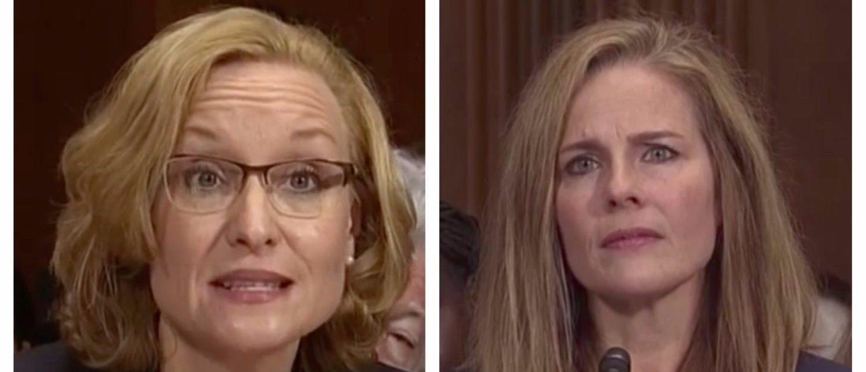 L: Michigan Supreme Court Justice Joan Larsen. R: Notre Dame Law School Professor Amy Coney Barrett. (Screenshots)