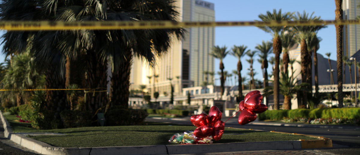 A makeshift memorial is seen next to the site of the Route 91 music festival mass shooting outside the Mandalay Bay Resort and Casino in Las Vegas, Nevada, U.S., October 3, 2017. REUTERS/Lucy Nicholson